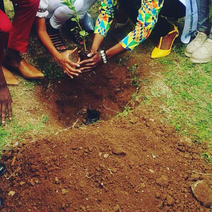 Diana Mwendwa during one of her tree planting sessions