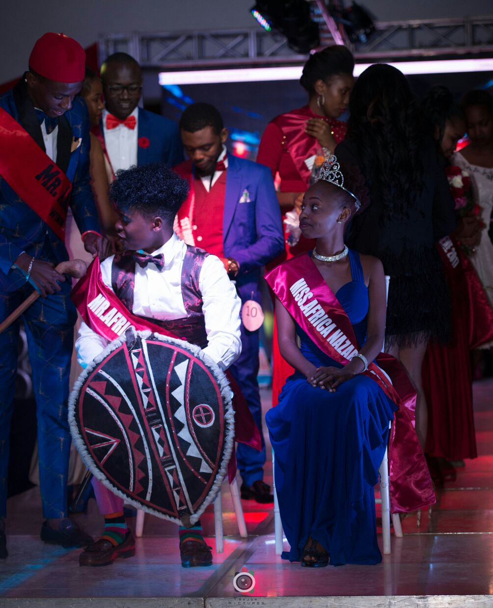 Bildad Ligala and Mary Kariuki being crowned Mr and Miss Africa Nazarene University 2017/2018