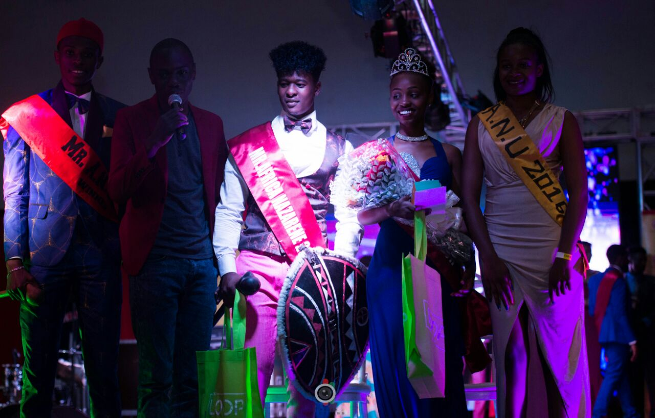Mr and Miss Africa Nazarene University: from left [Mr ANU 2016, Butita, Bildad Ligala, Mary Kariuki and Miss ANU 2016 after the crowning of this year's winners