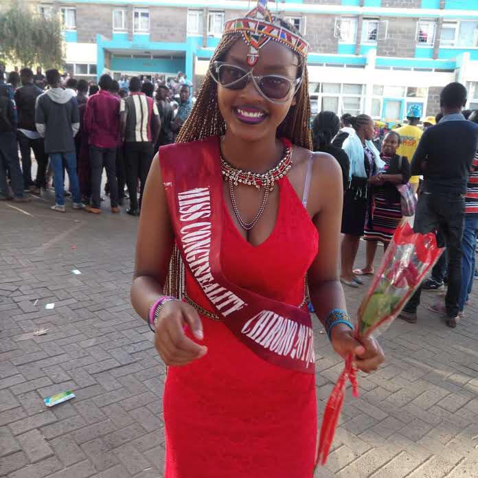 Mr and Miss University of Nairobi Chiromo Campus 2017/2018 Miss Congeniality winner Ms. Shualine Thuo, at the World Condoms Day on February 13 2018 at the Institution