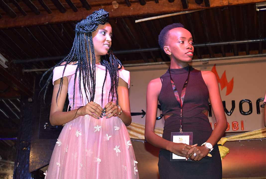 Mashujaa Awards 2017: Miss Mashujaa Popularity 2016 Nina Wangari (left) with Kelly, an official of Amo La Moda Kenya