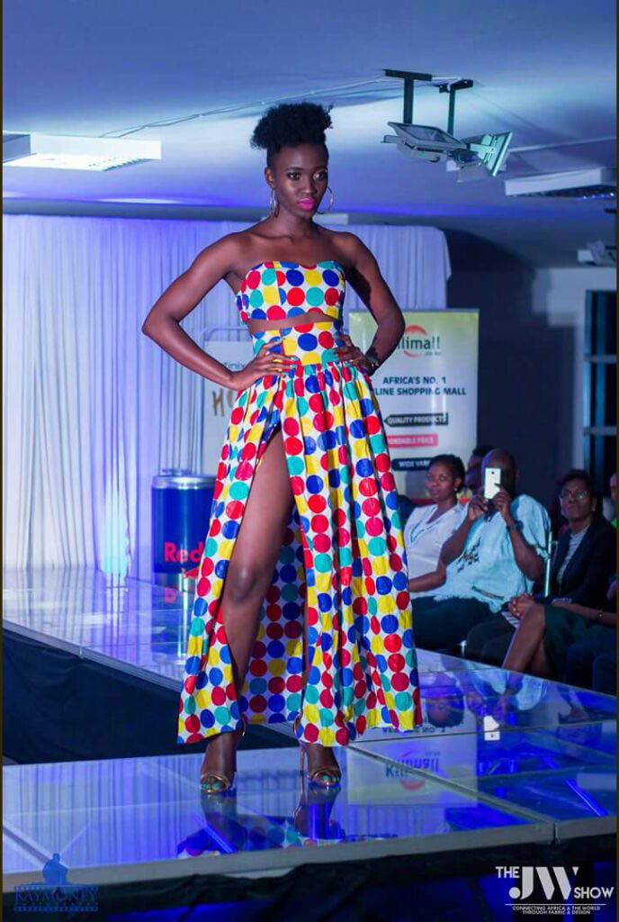A model showcasing a beautiful Kenyan design at a past JW Show event