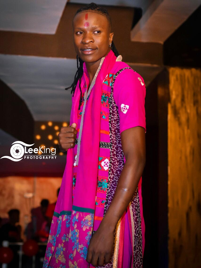 Mr and Miss Untamed Kenya 2018 first runners up Shaban Shamel displaying his cultural wear.