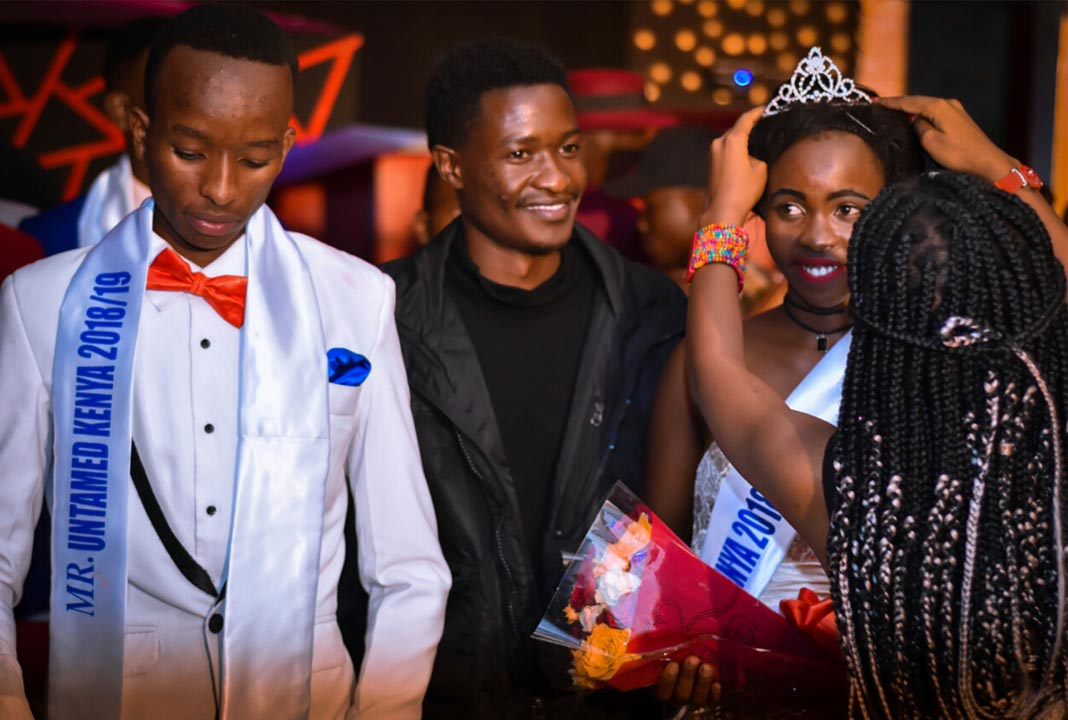 Mr and Miss Untamed Kenya 2018: The crowning of winners. Far Left: Oscar Muiruri - Mr Untamed, Center: Event organizer Edwin Nyamweya and Ruth Kathina while she was being crowned