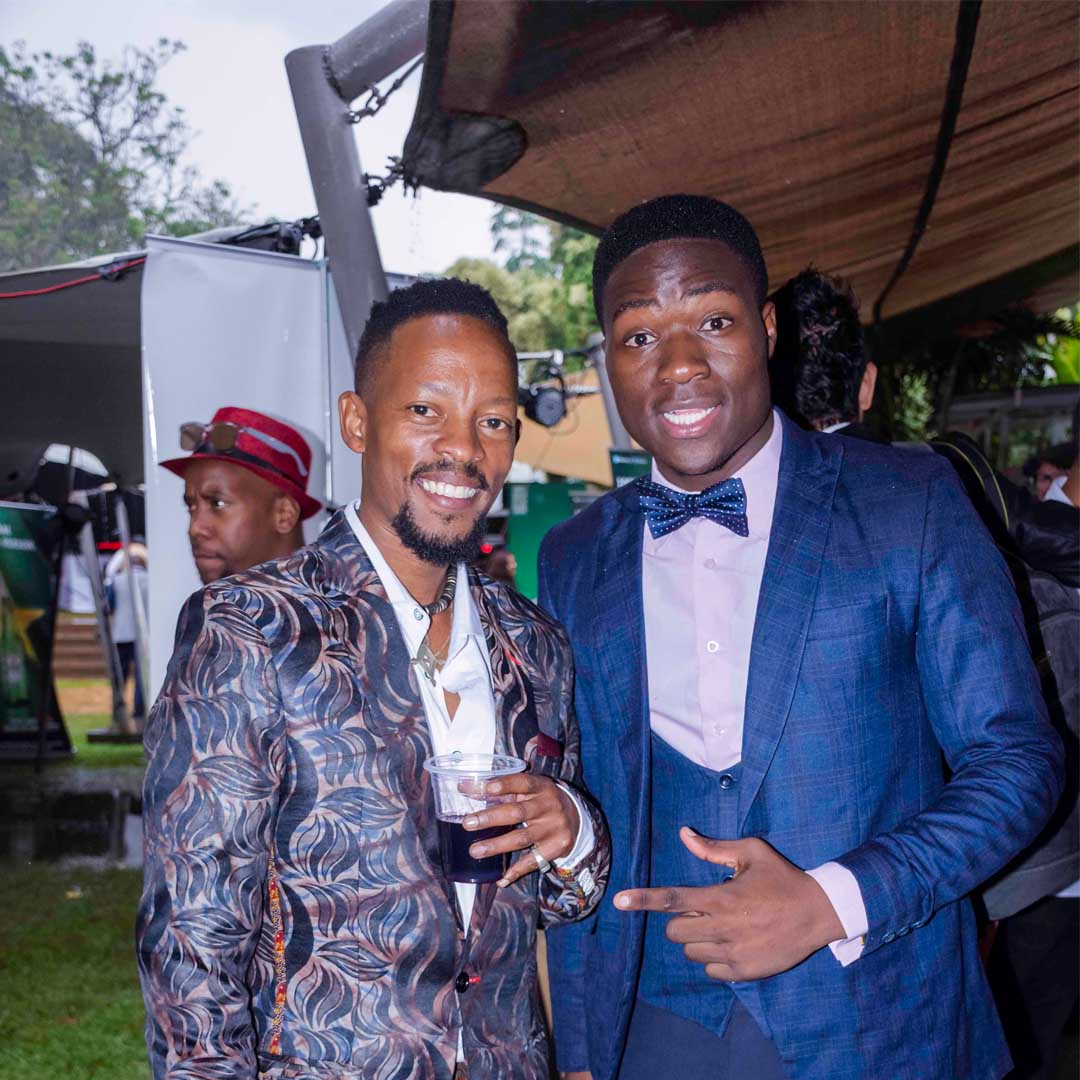 Fashion High Tea 2018: Multiple Award winner and top Kenyan Designer John Kaveke (left) enjoying a drink at the event with Clive Luppiizzy