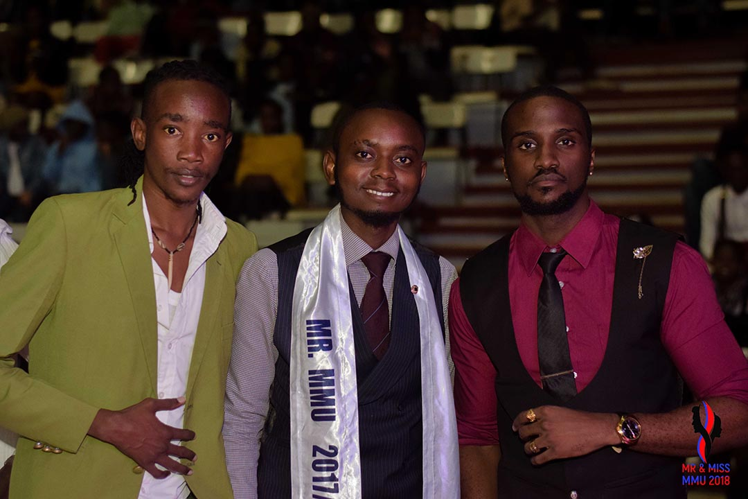 Mr and Miss 2018 Show Host Akuku Danger (left) with Mr MMU 2017 and Mr World Africa 2016 Kevin Awiti