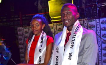 Commercial model Richard Oloo with the runway queen Mercygrace Kavata all smiles soon after being crowned the new Mr and Miss Multimedia University