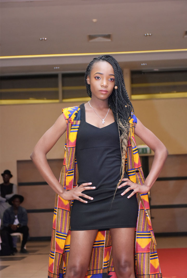 African Fashion Fusion 3: Runway model Bongo Furzana on that Akimbo pose when showcasing one of the designs at the event.
