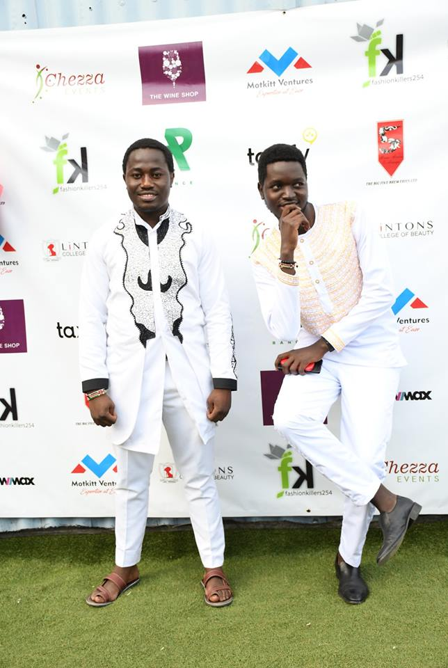 Organisers of the Fashion Couture in all white: Left Byron Oreyo; Right: Silas Omenda