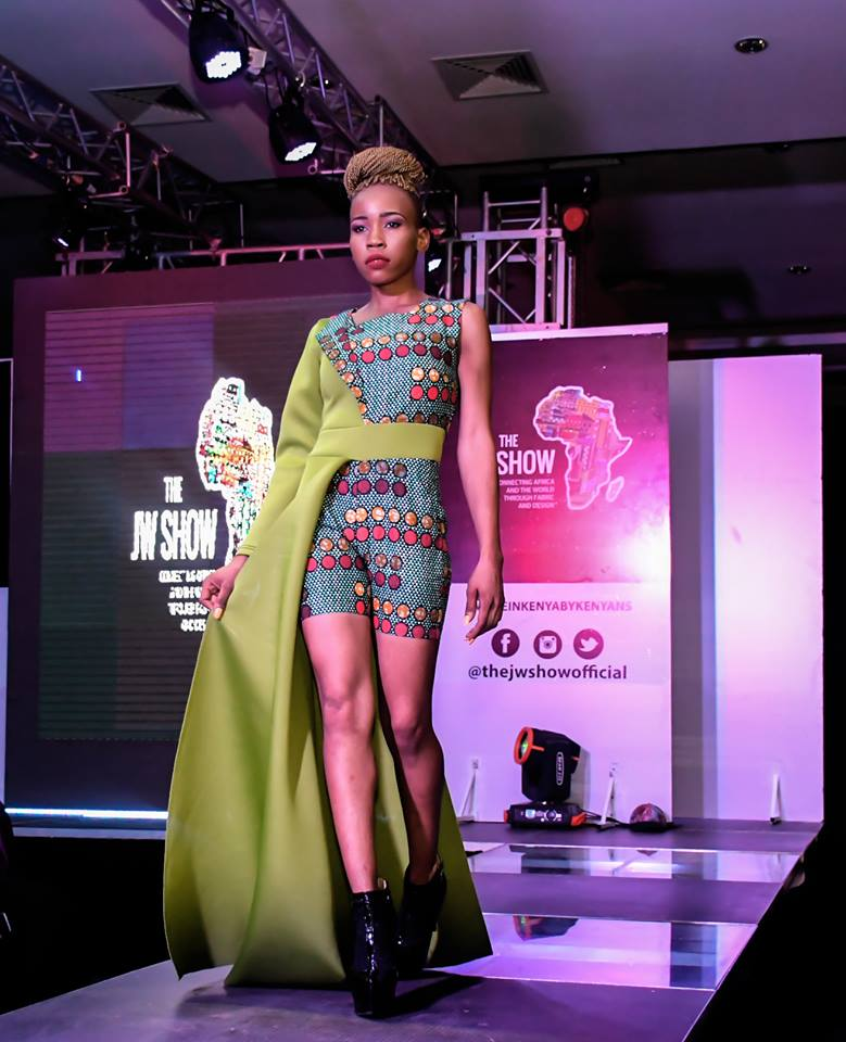 Runway model Sephine Seline showcasing Joyma collections at the JW Show 2018. Photo: Mesmeric Kenya