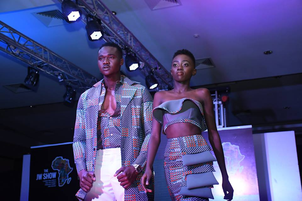 Models Jack Mulla and Celly Rue Brown on the Runway at the JW Show 2018