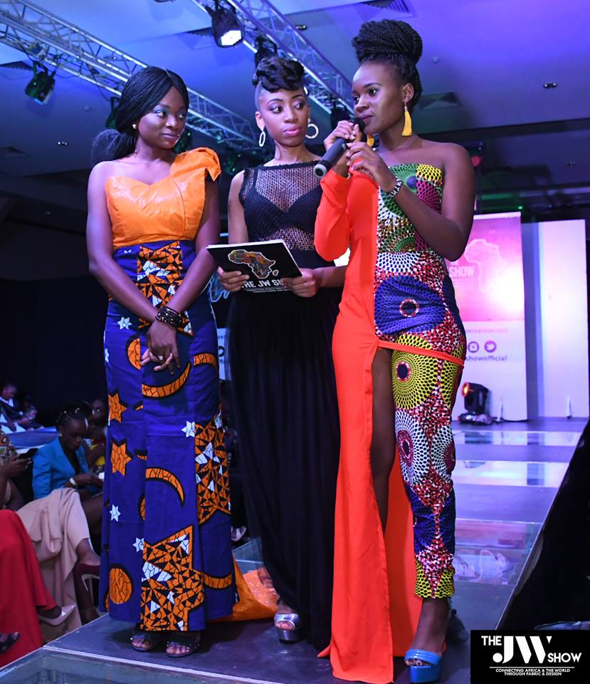 Winners of the JW Show 2018 Mkay Fashion House with the host Angela Wambui (center) at the event