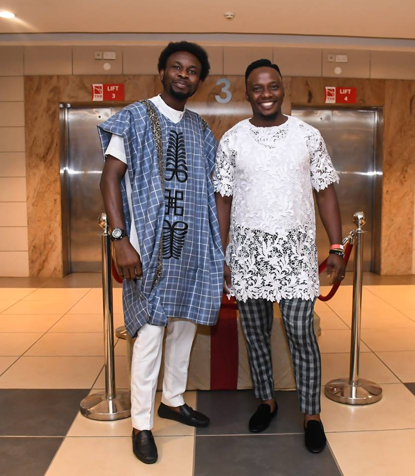 House of Gbemi designer (right) with one of his models rocking his brand at the JW Show 2018. Photo: Mesmeric Kenya