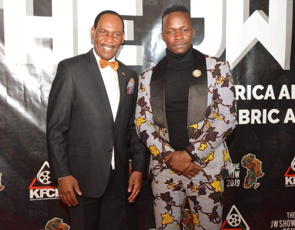 KFCB boss Dr Ezekiel Mutua poses with Jw Show Founder and CEO Mr. Jeffrey Wilson