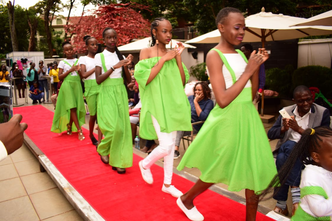 Fashion designs by 11 year old Keyla Lagat of Paliks Collection on display at the Africa Kids Fashion Week 2019