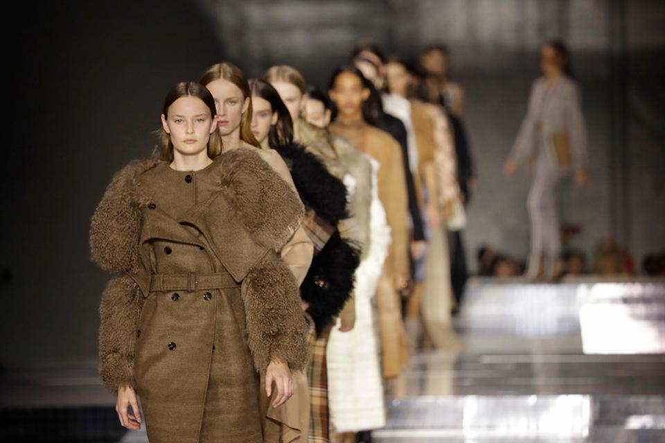Models walk the runway during the finale at the Burberry show during the London Fashion Week in February 2020